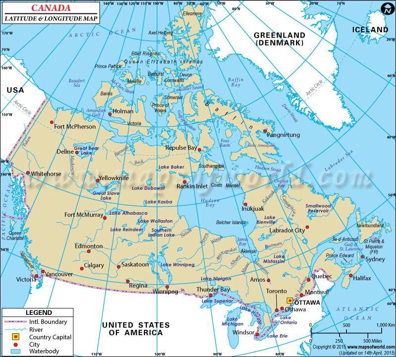 Map Of Canada Wtih Latitude And Longitude Canada