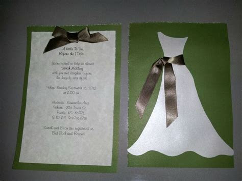 Homemade bridal shower invites for a very good friend
