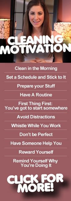 How to get (and stay) motivated to clean!  I use some of these and they've made a big difference. So helpful :)