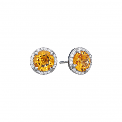Citrine, Diamond Studs