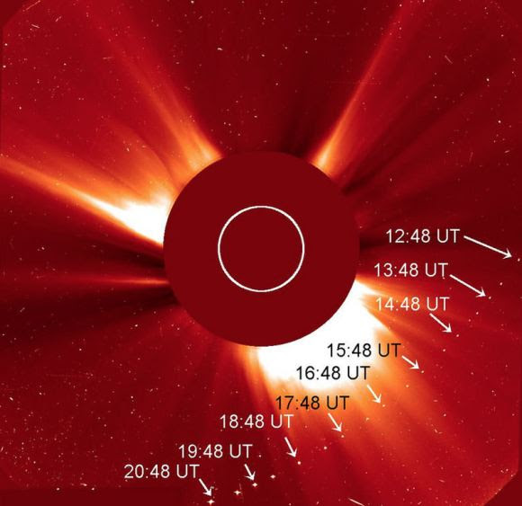 Composite of Comet SOHO-2875 crossing the C2 coronagraph field yesterday. Credit: NASA/ESA/Barbara Thompson