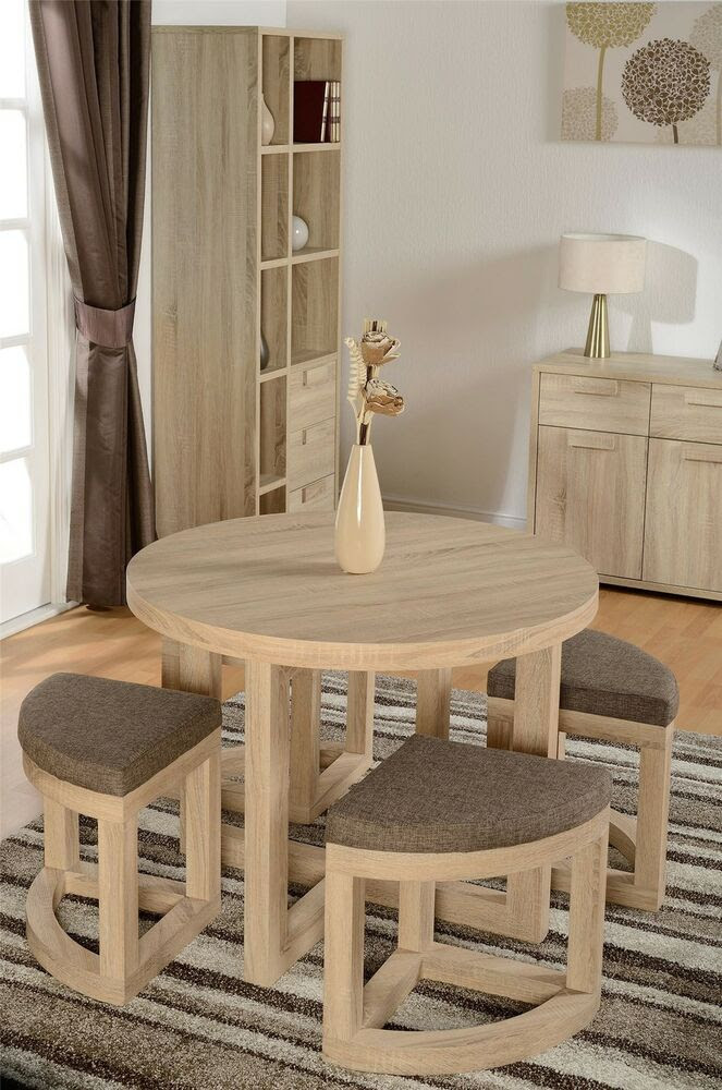 Cambourne Sonoma Limed Oak Chunky circular table 4 stools stowaway dining set  eBay