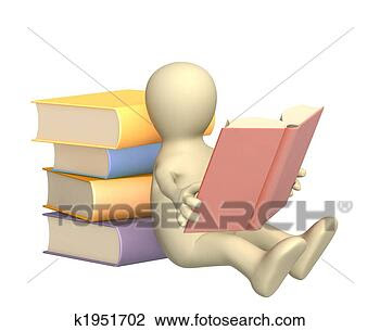 Clip Art - 3d puppet, reading  the book. fotosearch  - search clipart,  illustration posters,  drawings and vector  eps graphics images