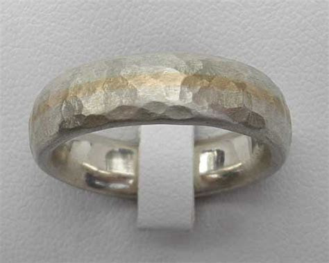 Hammered Silver & Gold Wedding Ring : LOVE2HAVE in the UK!
