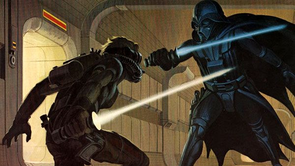 Conceptual artwork of Darth Vader and a Jedi Knight from STAR WARS.