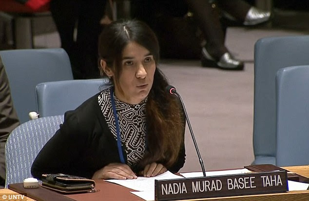 Speaking out: 21-year-old Yazidi woman, Nadia Murad Basee Taha, described her experience of being an ISIS sex slave in front of the United Nations Security Council