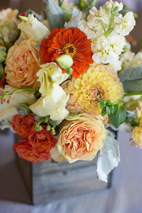 rustic yellow  orange summer wedding blush floral design