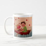 Boy Holding Heart in Boat Coffee Mugs