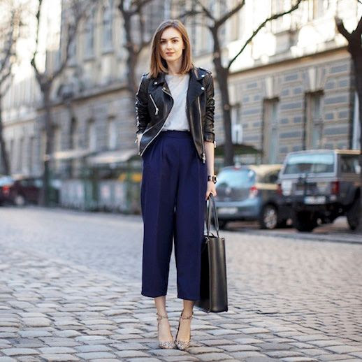 Le Fashion Blog Winter Officewear Leather Biker Jacket Dark Blue Culottes Large Leather Satchel Patterned Strappy Ankle Strap Pumps Via Fashion Agony
