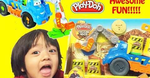 Ryan Plays with Play Doh Buzzsaw All Woodcutter Diggin' Rigs playset