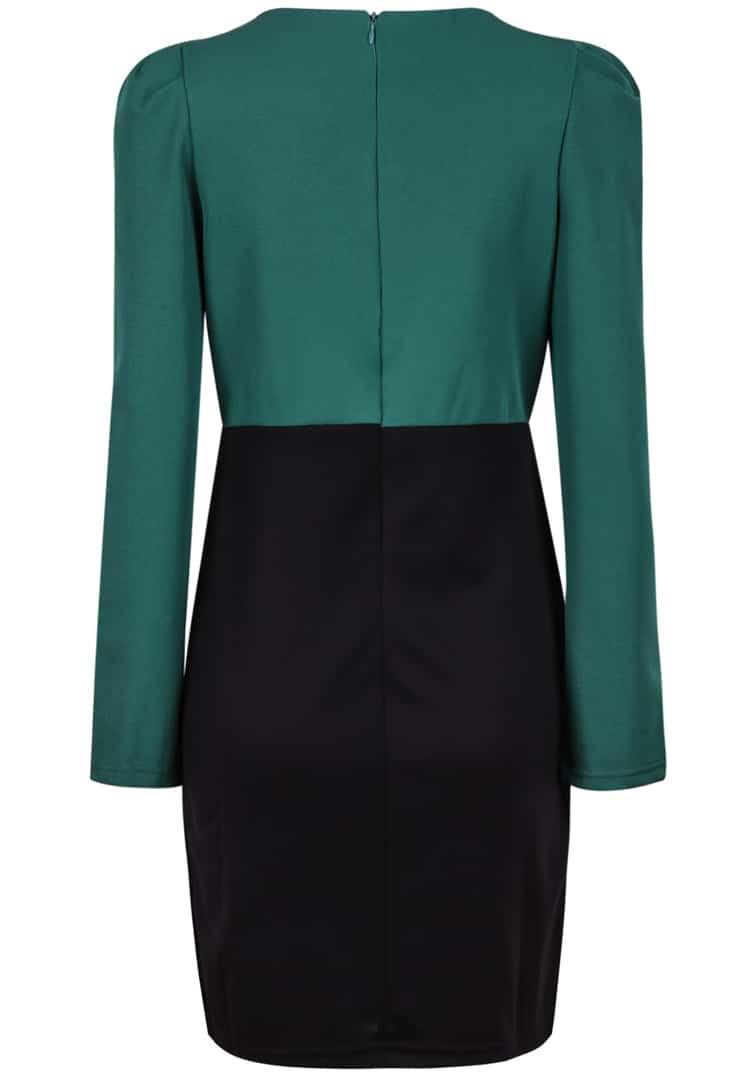Green long sleeve high neck bodycon dress