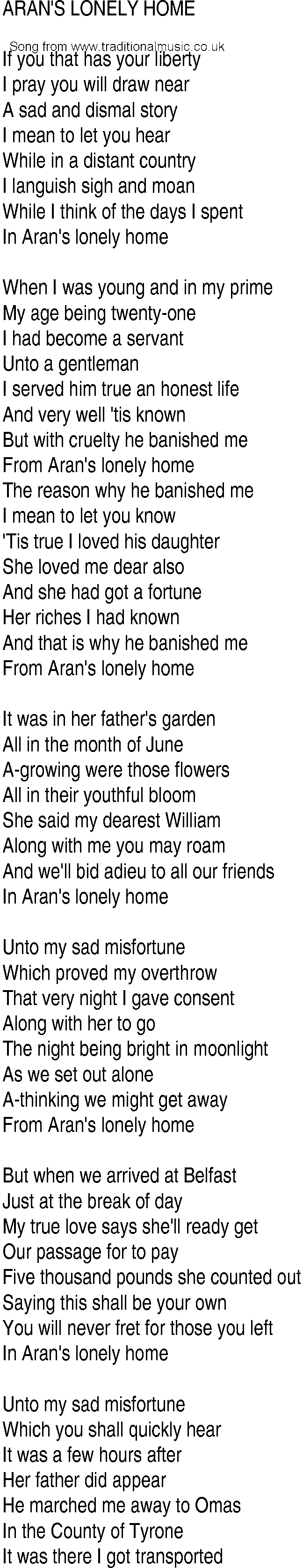 Irish Music Song And Ballad Lyrics For Arans Lonely Home