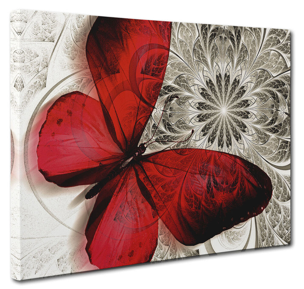 Red Canvas Butterfly Print Unique Abstract Floral Nature ...