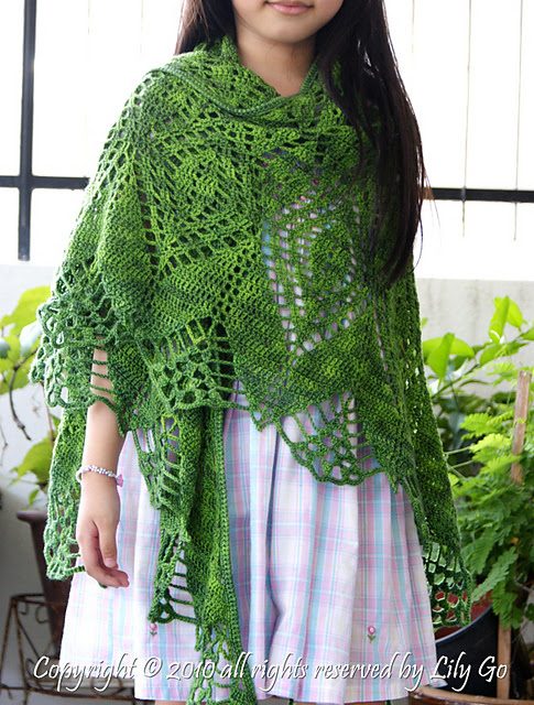 Lilygo Gathering Leaves Crocheted Shawl Pattern For Sale