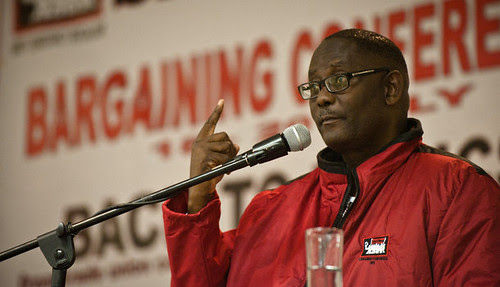 Zwelinzima Vavi, the Secretary General of the Congress of South African Trade Unions (COSATU). The organization claims two million members. by Pan-African News Wire File Photos