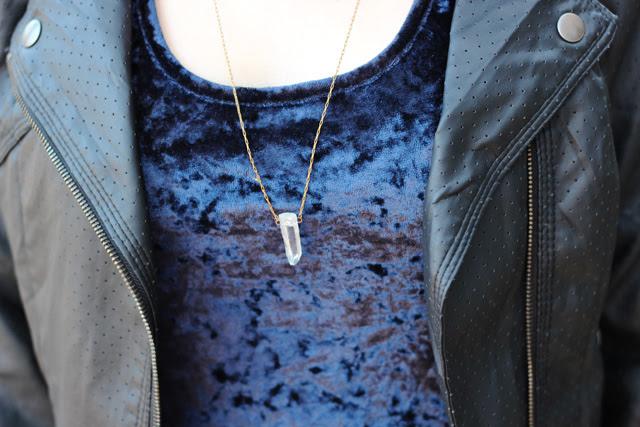 Quartz Necklace, Leather Jacket, Blue Crushed Velvet