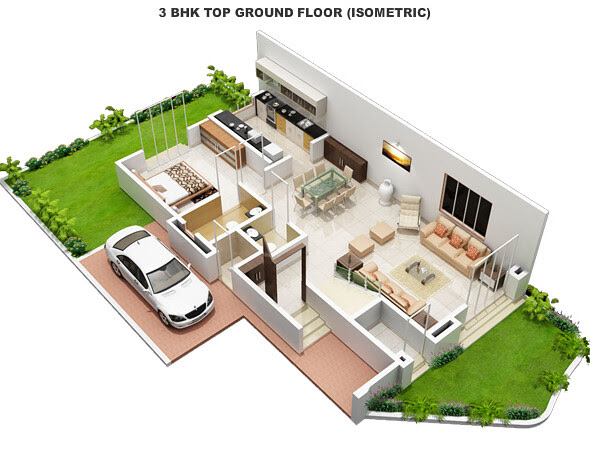 Ground Floor of a 3 BHK Villa at Alfa Green Fields near Tata La Montana Wadgaon Maval on Old Mumbai Pune Highway