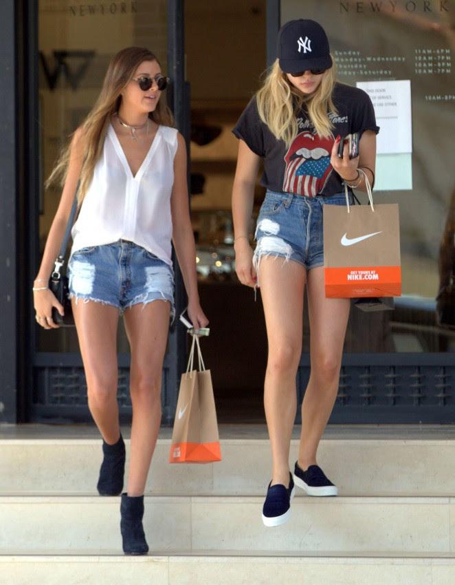 Chloe Moretz in Jeans Shorts -09