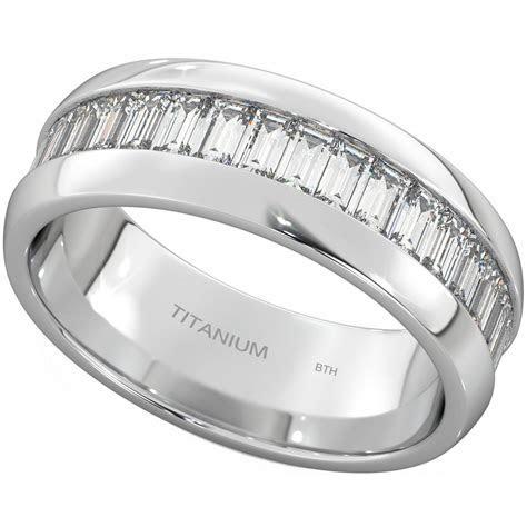 Emerald Cut Mens Titanium Ring