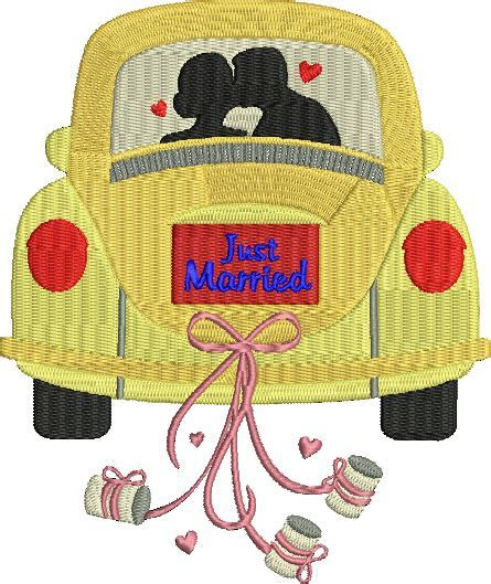 Bride and Groom in Car Just Married Machine Embroidery