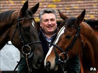Trainer Paul Nicholls with Denman and Kauto Star