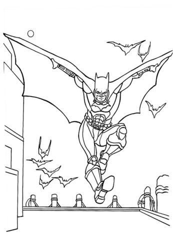 batman flying with bats coloring page  free printable