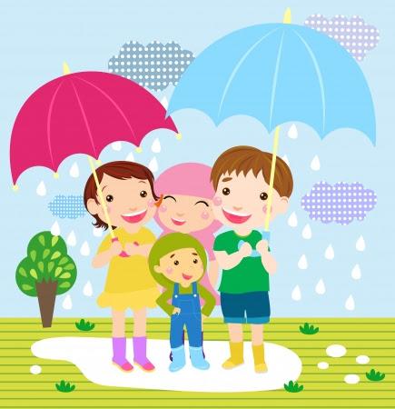 Yağmur çayır üzerinde Mutlu kız ve erkek Stok Fotoğraf - 16333209