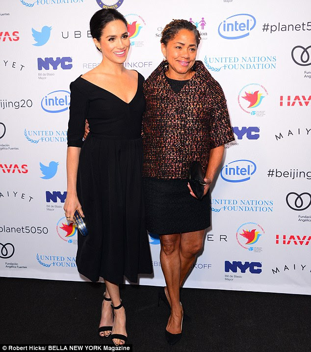 Red-carpet appearance: Meghan Markle and her mother Doria Radlan were pictured by Bella New York magazine - www.bellanyc.com - at an event for United Nations women's day in March 2015