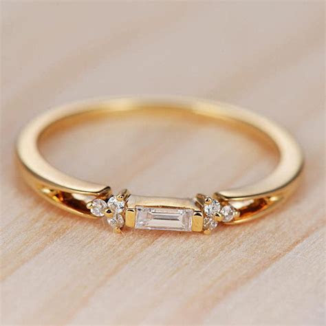 Baguette Diamond Engagement Ring Gold Wedding Band