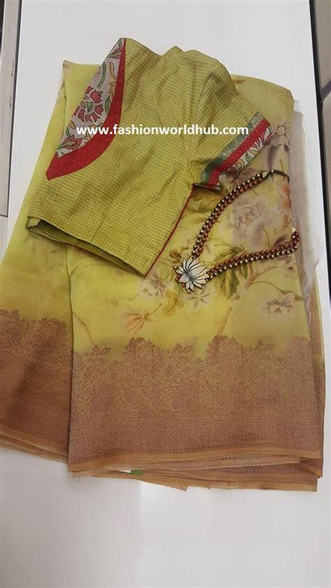 Floral print organza sarees by AAVARANAA   Fashionworldhub