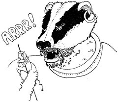 Archibald the space-pirate badger, from Doctor Who and the Pirate Loop, as imagined by Codename Moose