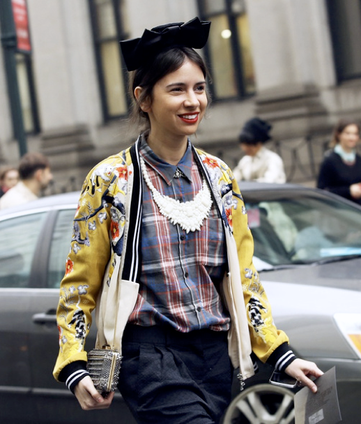 LE FASHION BLOG NEW YORK FASHION WEEK NYFW STREET STYLE FW FALL WINTER 2013 NATASHA GOLDENBERG RUSSIAN EDITOR BLACK BOW 31 PHILLIP LIM SATIN EMBROIDERED BOMBER JACKET  DRIES VAN NOTEN PLAID COLLAR SHIRT ENAMEL WHITE BIB NECKLACE
