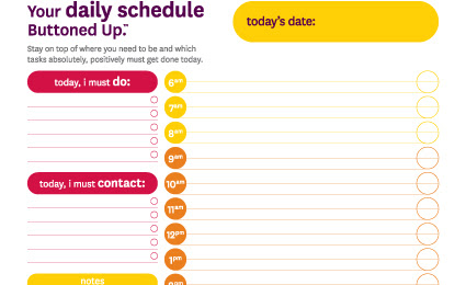 Tool: Free Printable Daily Schedule Form « Buttoned Up