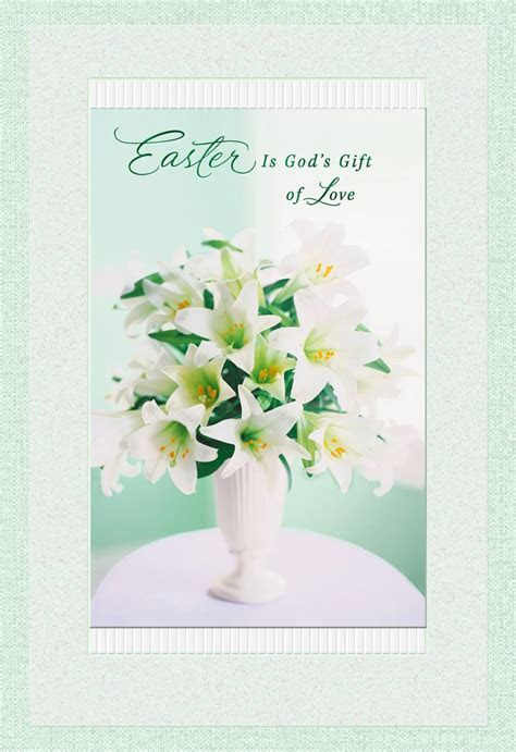 Vase With Lilies Religious Easter Card   Greeting Cards