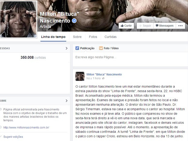 Página oficial do cantor postou mensagem com informações sobre o ocorrido no show (Foto: Reprodução/Facebook)