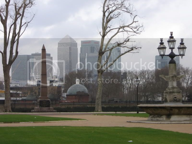 View across the old and new at Greenwich to Canary Wharf