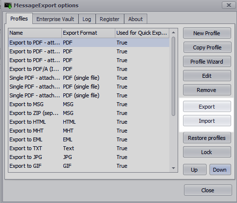 Screen shot showing the location of the Import and Export buttons.