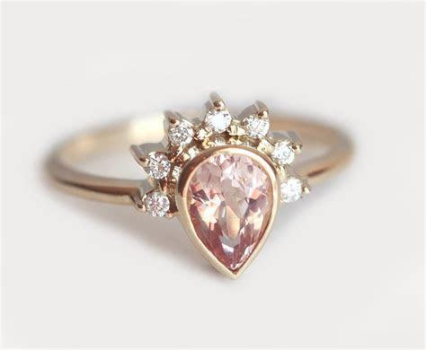Pear Morganite Engagement Ring, Morganite Diamond Crown