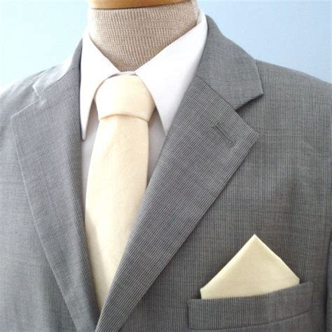 Men's Tie Cream Solid Ivory Off White Necktie by
