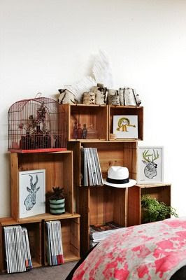 boho room...DIY shelves made from wooden boxes