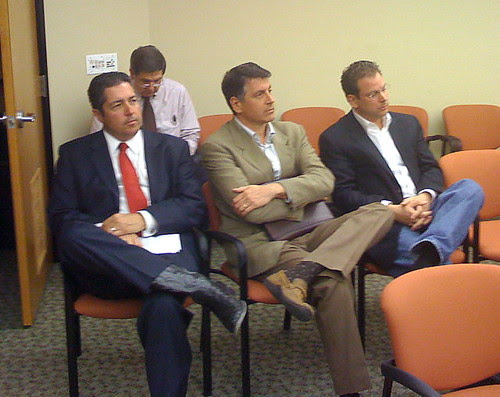 Lawyer Sam Bregman, Correra and Moldenhauer at last month's Gaming Control Board meeting.