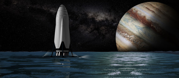 Artist's concept of SpaceX's Interplanetary Transport System spaceship on Jupiter's ocean-harboring moon Europa.