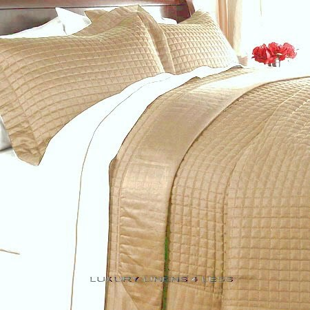 Hotel 400tc Egyptian Cotton Gold Quilt Coverlet Set King