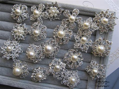 10 100 Pearl Brooch Lot Mixed Rhinestone Silver Pin