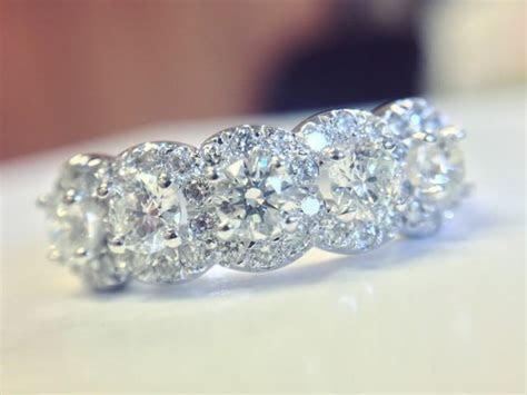 5 Stone Halo Ring, Diamond Anniversary Ring, 5 Stone Ring