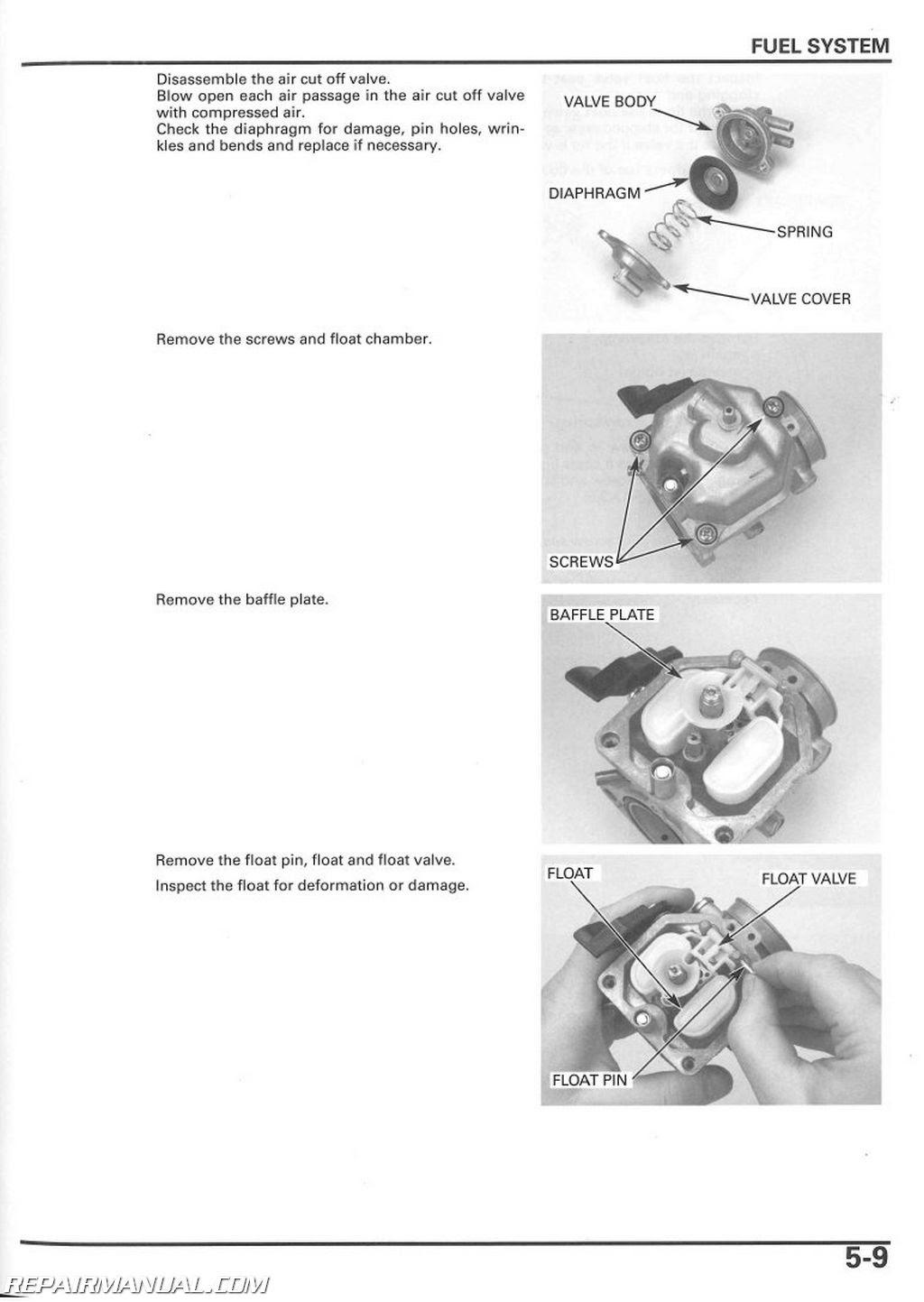 2017 Honda Generator Schematics 2005 2014 Trx250te Tm Recon Service Manual