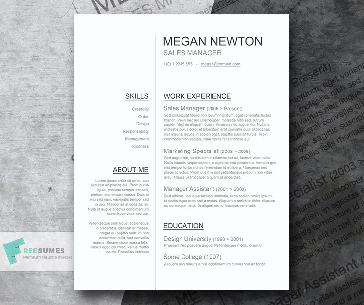 clean cv template word