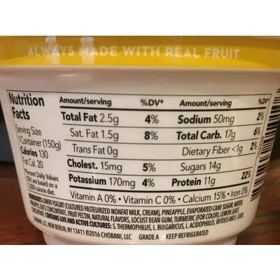 Chobani Plain Greek Yogurt Label