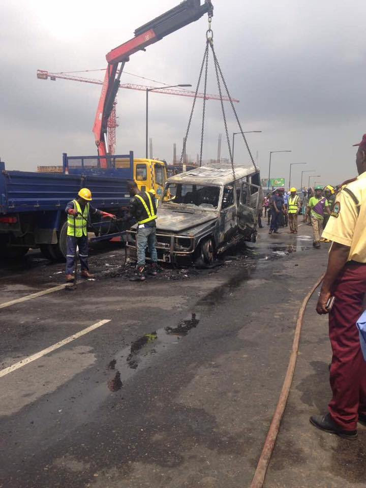 Governor Fayose escapes death as mystery fire engulfs vehicle [PHOTOS]