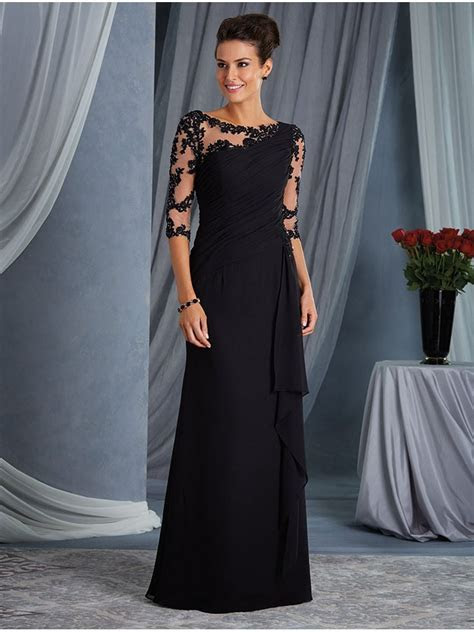 Elegant Illusion Bodice 3/4 Length Sleeves Lace Chiffon